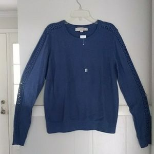 NWT Loft blue sweater with crochet detail